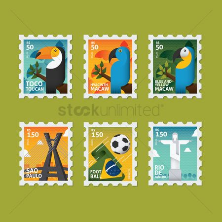Toco toucan : Collection of brazil postal stamps