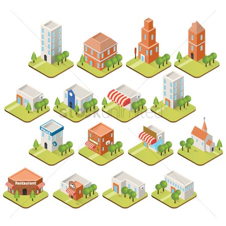 Blocks : Collection of building isometric