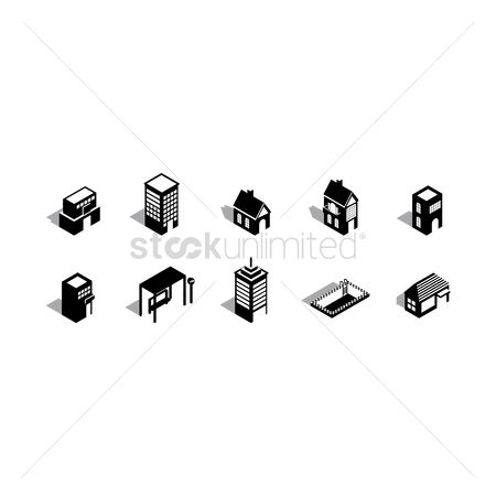 Cutout : Collection of buildings silhouette