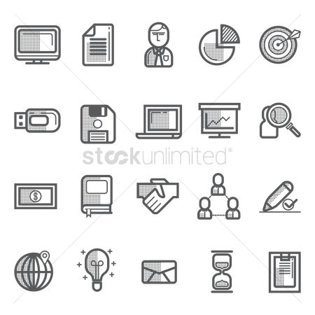 Work : Collection of business icons