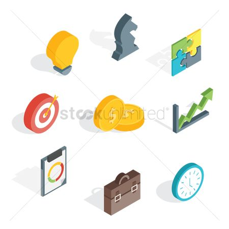 Whiteboard : Collection of business icons