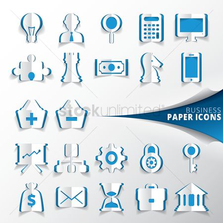 Jigsaw : Collection of business paper icons