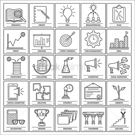 Achievement : Collection of business strategy icons