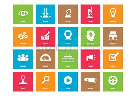 Motivation business : Collection of business strategy icons
