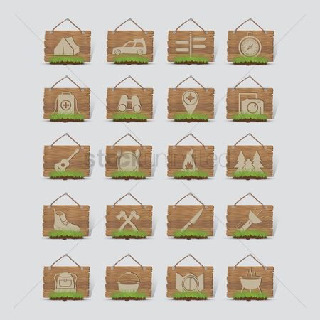 Wooden sign : Collection of camping equipment on wooden board