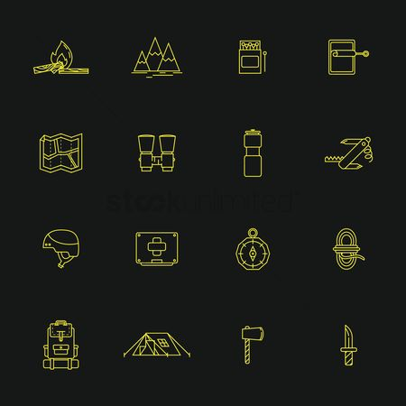 Logs : Collection of camping icons