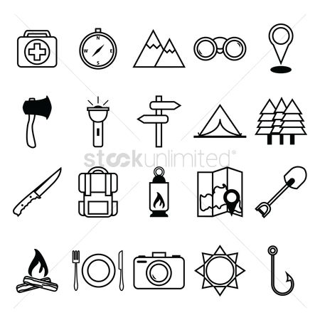 Plates : Collection of camping icons