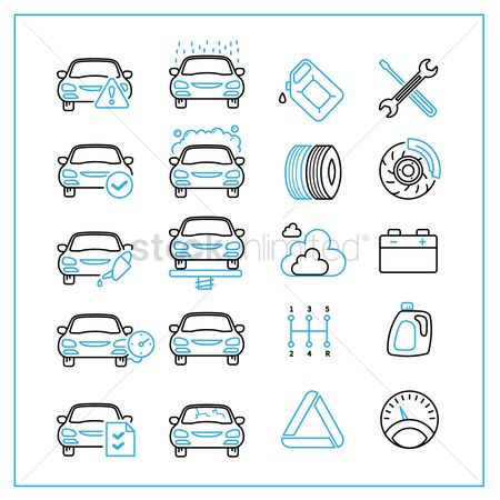 Caution : Collection of car repair service icons