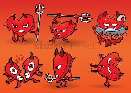 Annoy : Collection of cartoon devil with heart shaped body