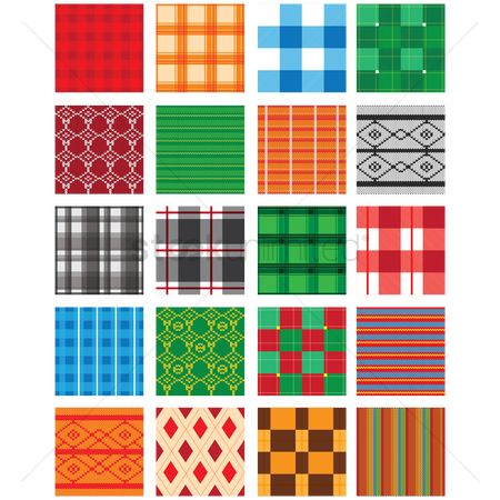Vintage : Collection of checkered and cross-stitch background design