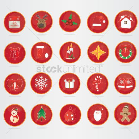 Mitten : Collection of christmas buttons