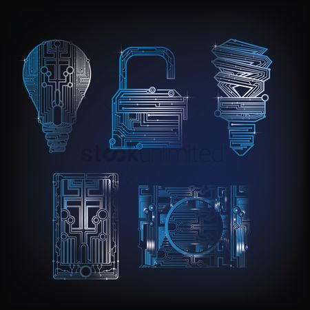 Photography : Collection of circuit design shapes