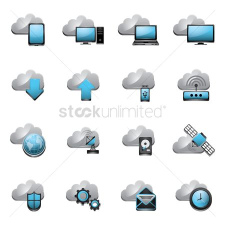 Pendrive : Collection of cloud technology icons