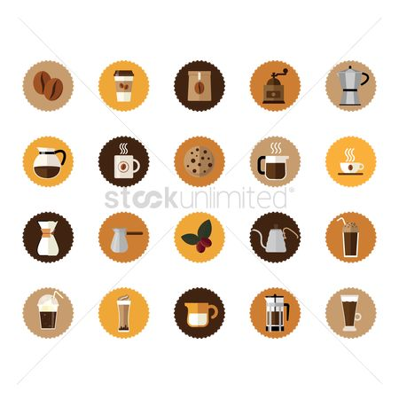 Biscuit : Collection of coffee icons