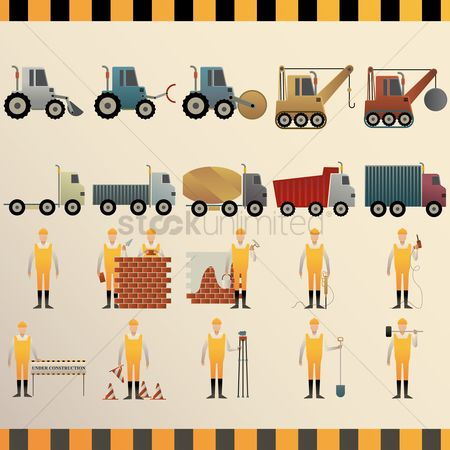 Workers : Collection of construction machinery and workers