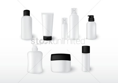 Lifestyle : Collection of cosmetic bottles