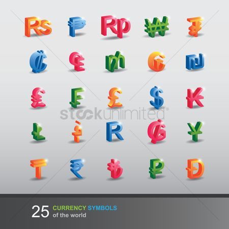 French : Collection of currency symbols