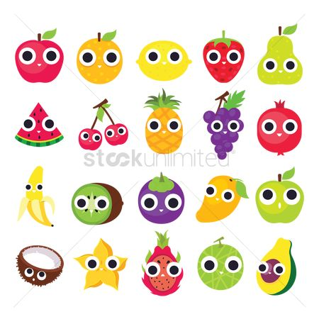 Agriculture : Collection of cute fruits
