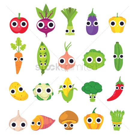 Health : Collection of cute vegetables