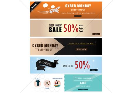 Retail : Collection of cyber monday sale banners