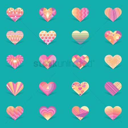 Geometrics : Collection of decorative heart design
