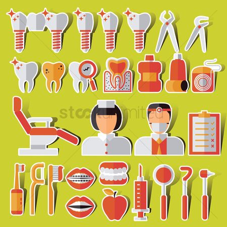 Tooth with braces : Collection of dental related items