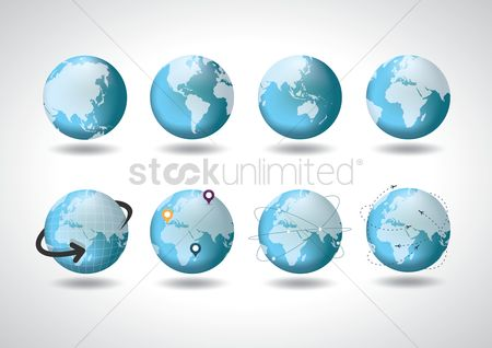 Map pointer : Collection of earth icons