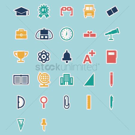 Magnifying : Collection of education icons