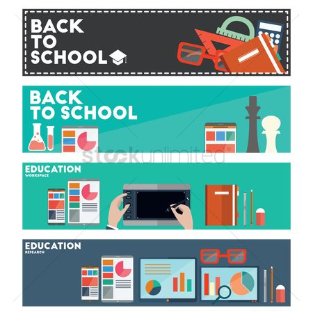 Mobiles : Collection of educational banners