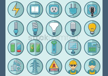 High voltage : Collection of electric icons