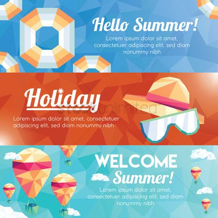 Lifebuoy : Collection of faceted summer banner