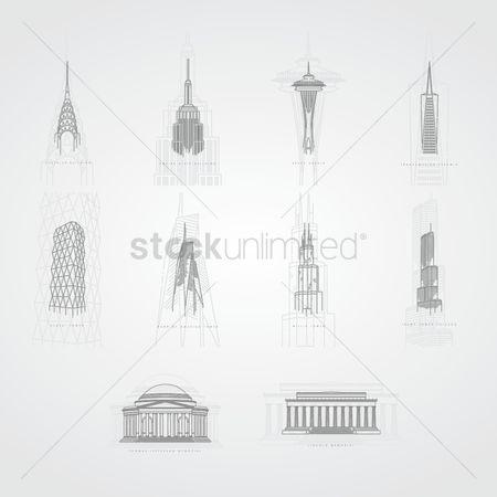 Building : Collection of famous usa landmarks