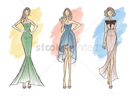 Dinner : Collection of fashion model sketches