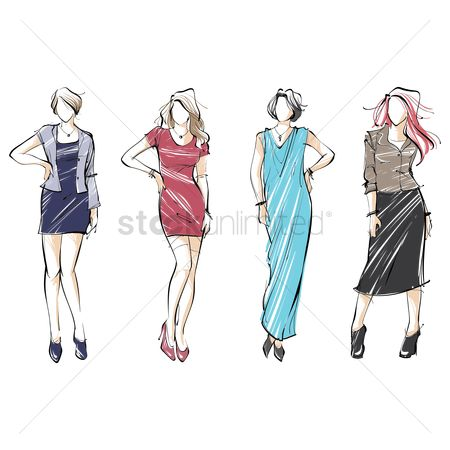 Skirt : Collection of fashion model sketches