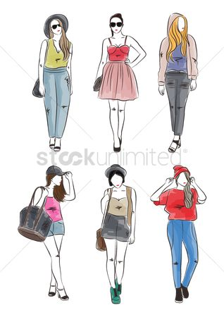 Posing : Collection of fashion models in different outfit