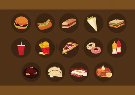 French : Collection of fast food