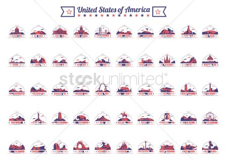 State : Collection of fifty united states and landmarks