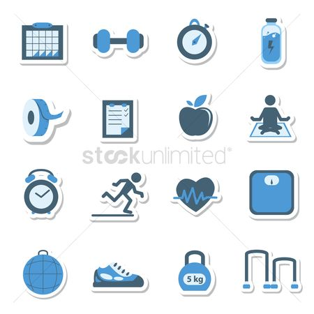 Checklist : Collection of fitness related icons