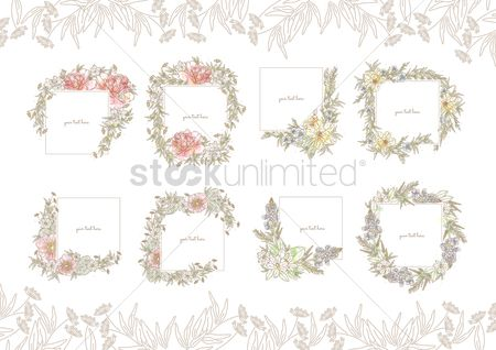 Decorations : Collection of floral frames