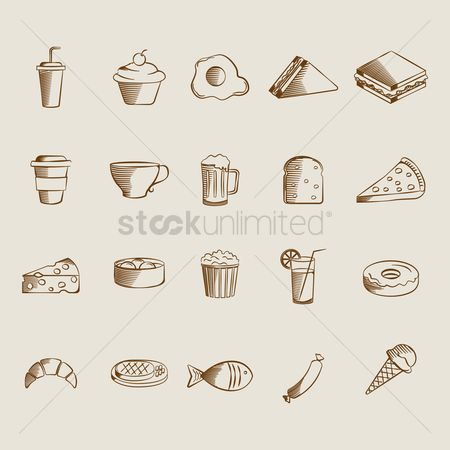 Croissants : Collection of food and drinks icons