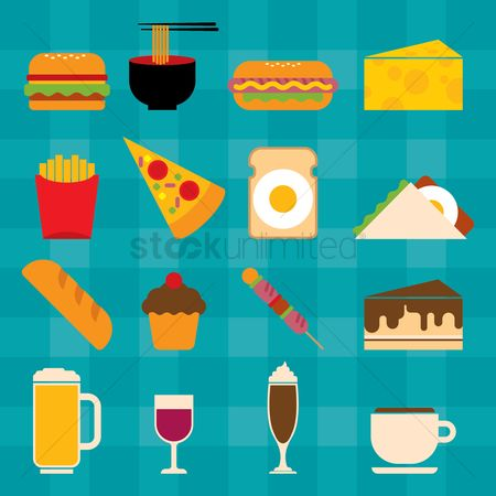 Unhealthy eating : Collection of food icons