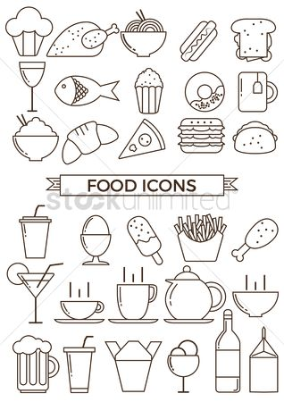 Hotdogs : Collection of food icons