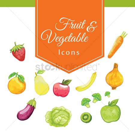 Bananas : Collection of fruit and vegetables icons
