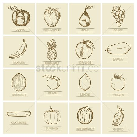 Mangoes : Collection of fruits and vegetables icons