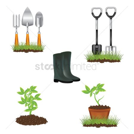 Footwear : Collection of garden items