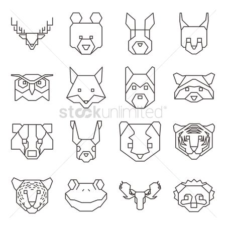 Hare : Collection of geometrical animal heads