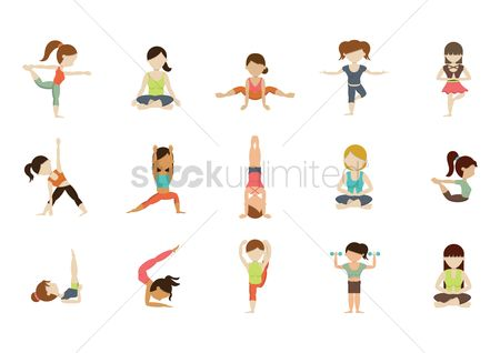 Dancing : Collection of girls practicing yoga