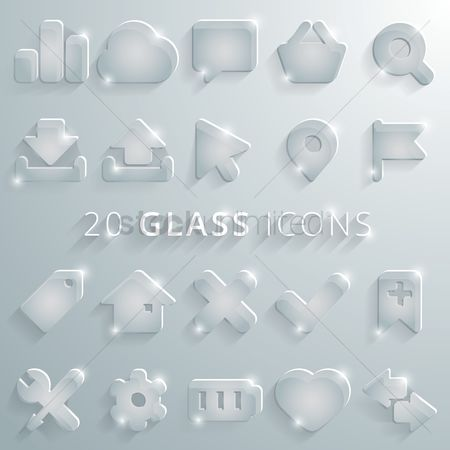 Shopping : Collection of glass icons