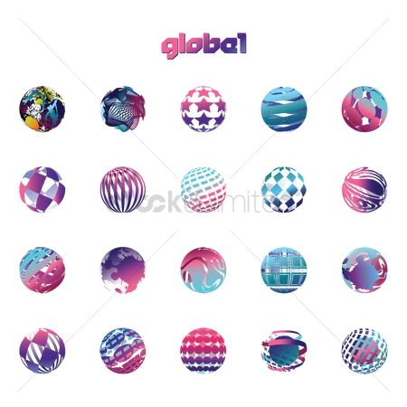 Logo : Collection of globe logo elements
