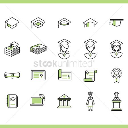 Achievement : Collection of graduation icons